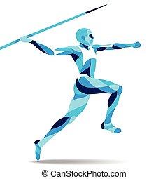 mozgalom, árnykép, -, ábra, stilizált, vektor, javelin-throwing, divatba jövő, egyenes, részvény