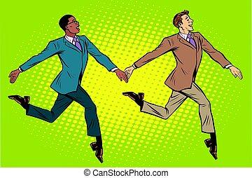 mozgató, elegantly, csoport, multi-ethnic, businessmen