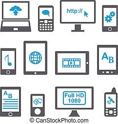 mozgatható, állhatatos, számítógépek, berendezés, ikonok
