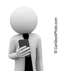 mozgatható, üzletember, 3, alkalmaz, telefon