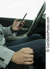 mozgatható, autó, alkalmaz, telefon