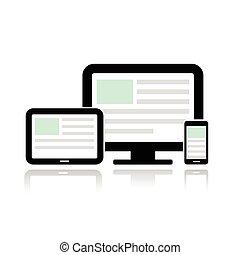 mozgatható, bemutatás, számítógép, telefon., tabletta