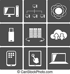 mozgatható, kapcsolatok, hálózat, ikonok