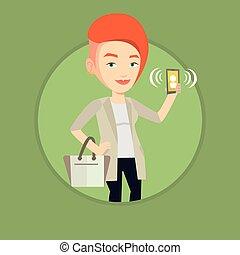 mozgatható, nő, telefon., gyűrűzés, birtok
