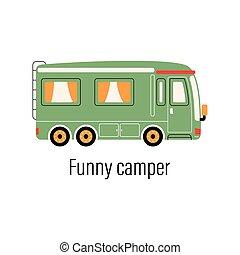 mozgatható, out-of-town, camper., otthon, színes, szórakozás, autó., pihenés, külső, ábra, háttér, vektor, elszigetelt, recreation.