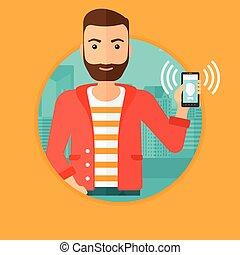 mozgatható, telefon., gyűrűzés, birtok, ember