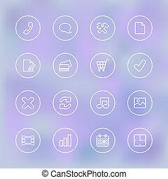 mozgatható, világos, ui, áttetsző, iconset, app