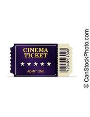 mozi, film, elszigetelt, háttér., tervezett, cédula, fehér, film