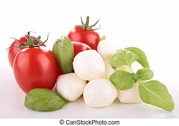 mozzarella, bazsalikom, paradicsom, fehér