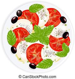 mozzarella, olaj, caprese, tányér, saláta, olajbogyó, bors, elszigetelt, black olajbogyó, fehér, bazsalikom