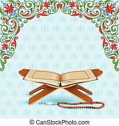 mubarak, eid), korán, (happy, eid, háttér