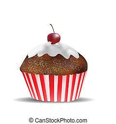 muffin, fehér, elszigetelt