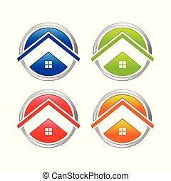 multi-, állhatatos, színezett, elvont, otthon, karika, ikon
