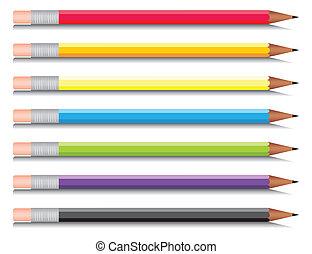 multi-coloured, hét, állhatatos, rudacska, colours., vektor, ábra