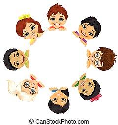 multi-, csoport, gyerekek, etnikai