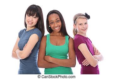 multi-, csoport, tizenéves, izbogis, kulturális, lány friends
