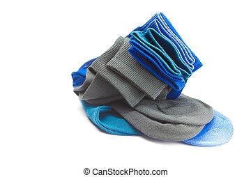 multi-, elkészített, színezett, elszigetelt, zokni, fehér, gyapot