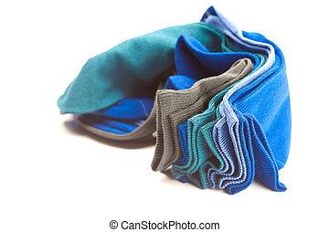 multi-, elkészített, színezett, elszigetelt, zokni, ??of, fehér, gyapot