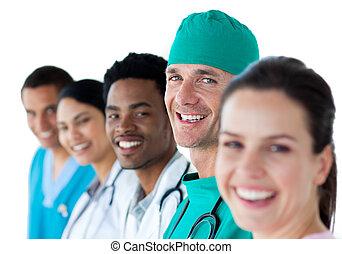 multi-ethnic, befog, mosolygós, orvosi
