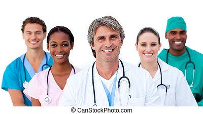 multi-ethnic, mosolygós, befog, orvosi