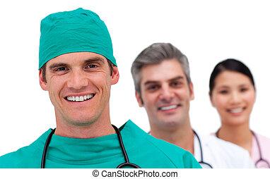 multi-ethnic, orvosi sportcsapat, portré