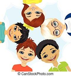multi etnikai, alakítás, karika, csoport, gyerekek