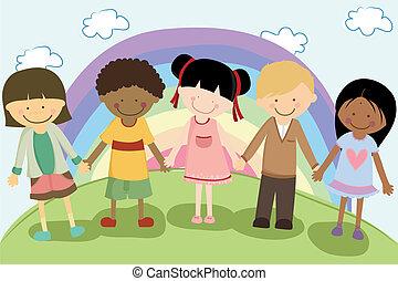 multi-, gyerekek, etnikai
