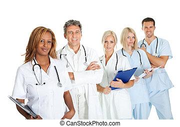 multi-, orvosi, etnikai, ellen, befog, mosolygós, fehér