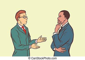 multi-, társalgás., két, businessmen, etnikai csoport