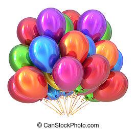 multicolored., dekoráció, születésnapi parti, léggömb, balloon, csokor