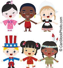 multicultural, gyerekek, együtt