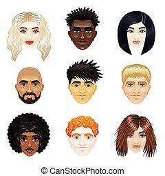 multicultural, vektor, állhatatos, emberek arc