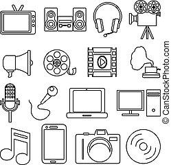 multimédia, állhatatos, ikonok