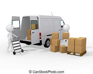 munkás, berakodás, furgon, dobozok, 3