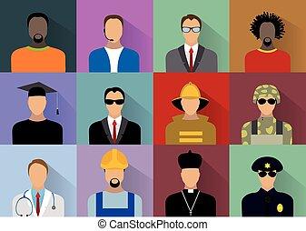 munkás, egyenruha, emberek, állhatatos