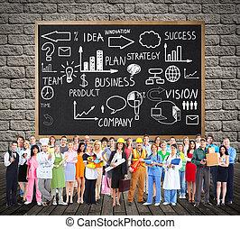 munkás, group., emberek