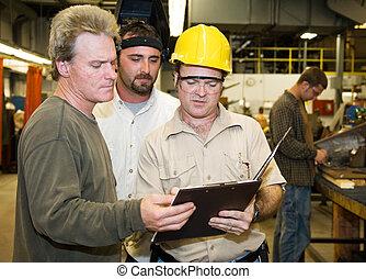 munkás, gyár, vizsgál, belső