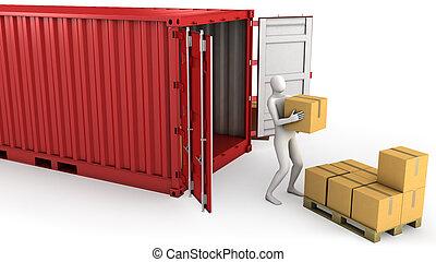 munkás, konténer, unloads