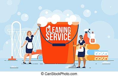 munkás, lakás, szolgáltatás, takarítás, vektor, profi