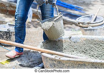 munkás, szerkesztés, cement