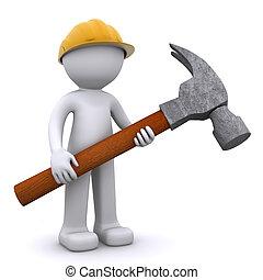 munkás, szerkesztés, kalapács, 3