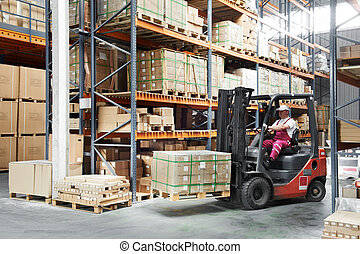 munkás, targonca, sofőr, rakodómunkás, raktárépület, művek