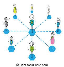 munka, összekapcsol, siker, befog