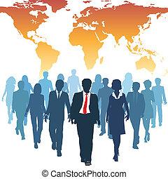 munka, ügy emberek, globális, emberi, befog, erőforrás