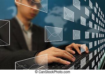 munka hivatal, ügy, elektronikus posta, gépelés, ember