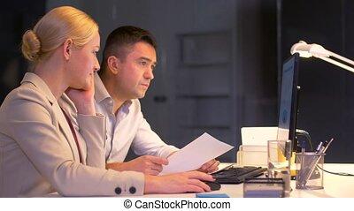 munka hivatal, késő, számítógép, befog, ügy