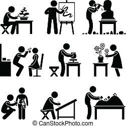 munka, munka, művészet, művészi, foglalkozás
