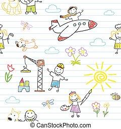 munka, seamless, gyermekek kopás, háttér, boldog