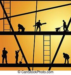 munka, szerkesztés, vektor, munkás, ábra