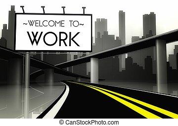 munka, város, fogadtatás, fogalmi, nagy